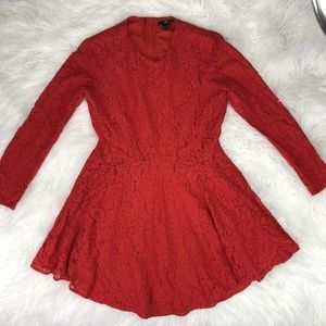 H&M Size 12 Red Long Sleeves A Line Dress